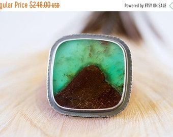 ON SALE Australian Chrysoprase Ring, Sterling Silver Cocktail Ring, Collector Stone, Chrysoprase in Matrix - Mystery of Grace - Size 8