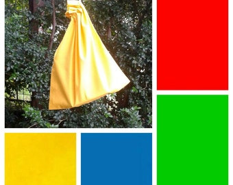 Small cotton drawstring bag, 4 primary colours, for toys, books, games