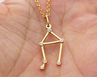 SALE 20% OFF - Libra Necklace - Zodiac Necklace - Zodiac Signs - Libra Necklace - Constellation Necklace with Stone - Birthday Gifts