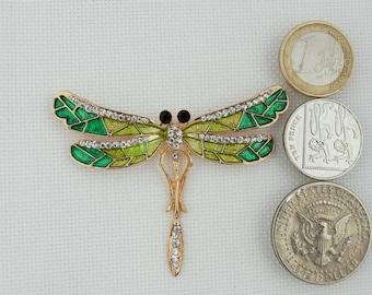 Green Dragonfly Needle Minder / Enamel and Rhinestone Dragonfly Needle Minder