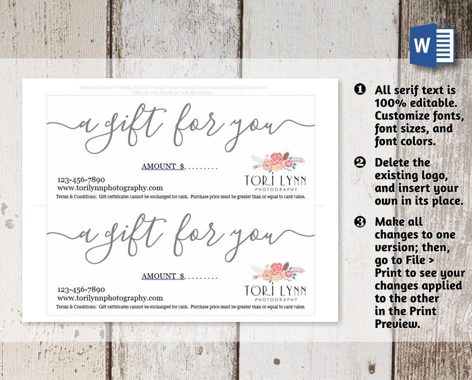 Printable Gift Certificate, Gift Card Template, Simple ...
