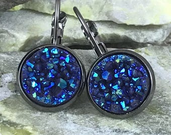Slate Blue Druzy Earrings - Leverback Earrings - Druzy Jewelry - Drusy - Earrings - Bridesmaid Gift - Blue - Jewelry -Druzy - Drop Earrings