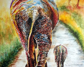 "Elephant painting of mother and baby elephant. Watercolor Print from an Original piece of Artwork called ""Are We There Yet?"""