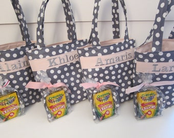 Flower Girl Gift Personalized Tote Bag Quiet Color Crayon Roll Bride Wedding Polka Dots  Design Your Own 100s Fabric Choices Design Your Own