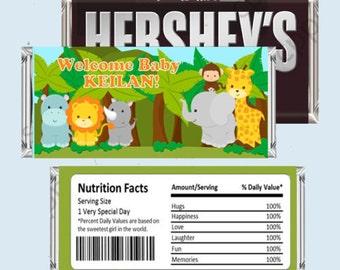 Jungle Safari Candy Bar Wrapper, Hershey Bar Wrappers DIY PRINTABLE