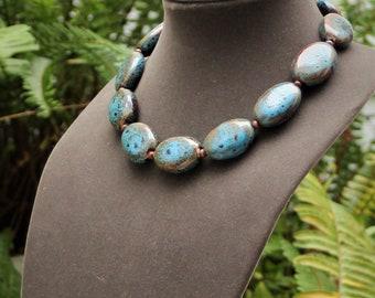 Chunky Ceramic Bead Statement Necklace