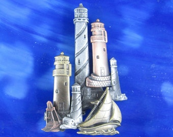 Lighthouse Brooch- Lighthouse Jewelry- Nautical Pin- Nautical Jewelry