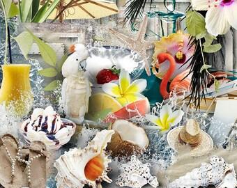Summer, Digital Scrapbook Kit, Summer Backgrounds, Summer Digital Papers, Printable Papers, Summer Digital Graphics, Tropical Graphics,