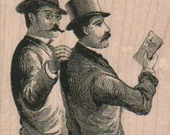 Rubber stampVictorian gentleman men Steampunk wood Mounted  scrapbooking supplies 18344