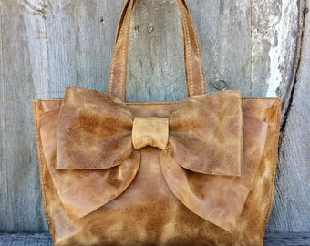 Leather Bow Bag in Distressed Honey Brown Italian Leather -  Tote - Leather Bow Purse - Handmade - Artisan - Gift for Woman - by Stacy Leigh