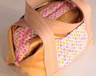 Large toiletry bag / vanity - silk cotton fabric and faux leather - mustard yellow and pink - triangles