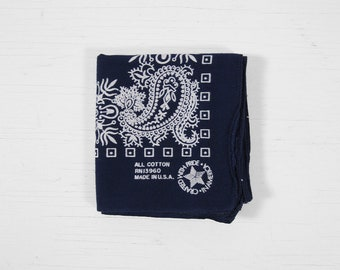 Vintage Blue Bandanna Indigo Paisley Handkerchief All Cotton Made in USA