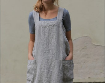 Linen pinafore / Pinafore dress / Square cross linen apron / Japanese apron / Washed long apron / loose linen tunic