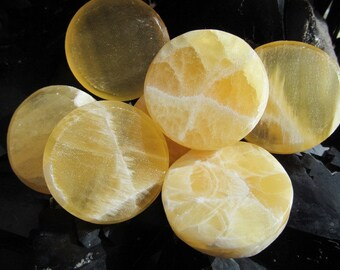 Honeycomb Calcite Sun Disk Soothing Stone #H70