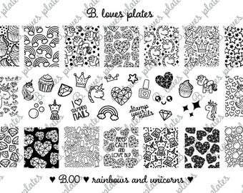B.00 - rainbows and unicorns - nail stamping plates (B. Loves Plates )