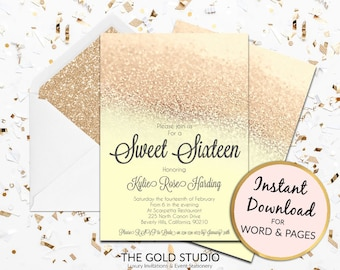 Instant Download Sweet 16 yellow gold glitter invitation sweet sixteen editable template elegant editable in word and pages on PC and Mac