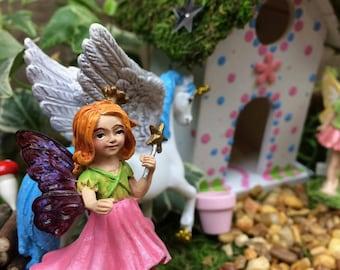 Fairy Garden Fairy, purple wing & yellow wing fairies, Fairy Garden kit add on, garden miniature, fairy garden accessories