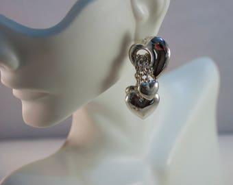 Sterling Cascading Hearts Pierced Earrings, Valentines Heart Earrings