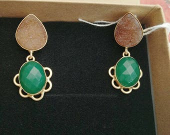 22k natural stone, handmade drop earrings