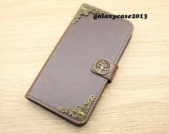 Tree of Life Handmade Leather Wallet Stand Case Flip Cover For Apple iPhone 6 / 6S / 6 Plus / 6S Plus / 7 / 7 Plus / 8 / 8 Plus X