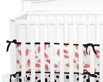 Watercolor Watermelon2-in-1 Crib Bumper/Rail Cover | Convertible Baby Girl Bumper Set | Watermelon Crib Bumper Set