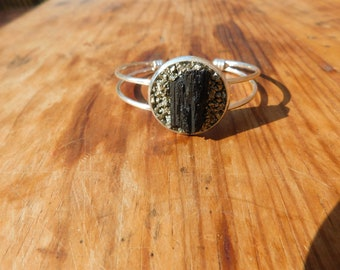 Silver Cuff Bracelet with Black Tourmaline and Pyrite