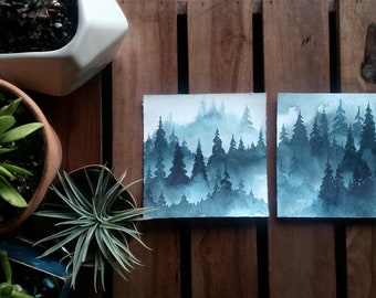 Set of 2 Mini Watercolor Landscape Paintings of Mountains and Foggy Pine Trees // Wedding gift for hiker // 2 paintings 4 x 4 inch each
