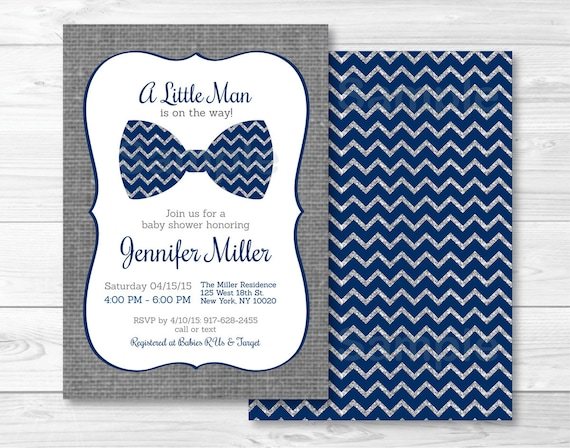 Bow Tie Baby Shower Invitation Bow Tie Baby Shower Invite