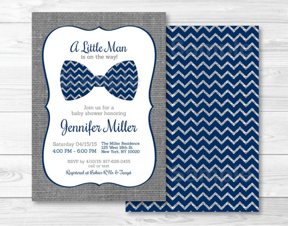 Lovely Bow Tie Baby Shower Invitation / Bow Tie Baby Shower Invite /