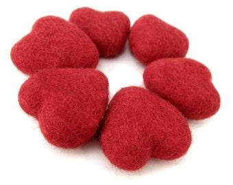 Felt Red Heart - 6 Pure Wool Beads 30mm