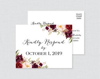 Printable OR Printed Wedding RSVP Postcards - Marsala Floral RSVP Postcards - Rustic Pink and Burgundy Wedding Response rsvp Postcard 0006