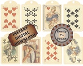 Medieval Playing Cards Tags Printable Queen of Hearts Alice in Wonderland Gift Hang Tags Scrapbook Embellishments Party Favors Spades Clubs