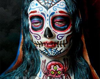 UC Studios Tattooed Dia De Los Muertos Virgin Mary Canon Print PRINT 402 by Michael Brown