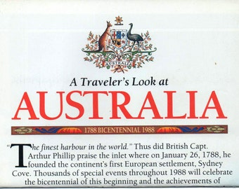 A Traveler's Look at Australia, National Geographic Map, 1988, good shape