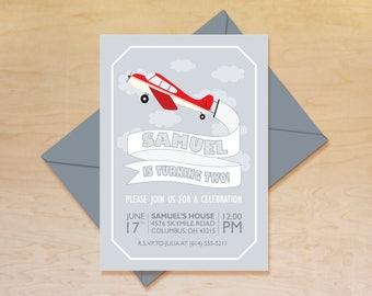 Airplane Birthday Invitation, Airplane Invitation, Plane Birthday Invitation, Aviation Birthday Invitation, Airplane Birthday Theme