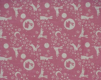 Tenugui 'Pink Rabbits in the Moon' Fabric Japanese Cotton Gauze w/Free Shipping