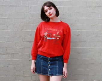 Vintage 1980s Michel Bachoz RARE Novelty Print Sweatshirt / DESIGNER Red Sweater / Made in France / XS/S