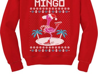 fa la la flamingo ugly christmas sweater funny youth kids sweatshirt