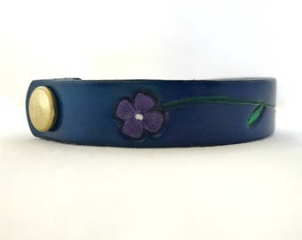 Hand Painted Leather Bracelet.