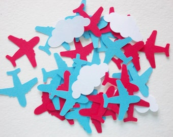 Airplane Confetti, Red & Sky Blue Airplanes, Cloud Confetti, Airplane Theme, Party Decoration, 100 Ct.