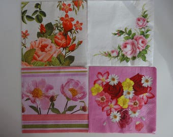 """4 """"flowers"""" themed paper napkins"""