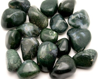 Green Moss Agate - Tumbled - 1 Pound - 1 to 1.5 inch pieces - 1lb Bulk Lot lb
