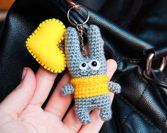 Keychain toy, Bunny keychain, Crochet keychain, keychain heart, Amigurumi keychain bunny, Cute keychain, Crochet key chains, accessory