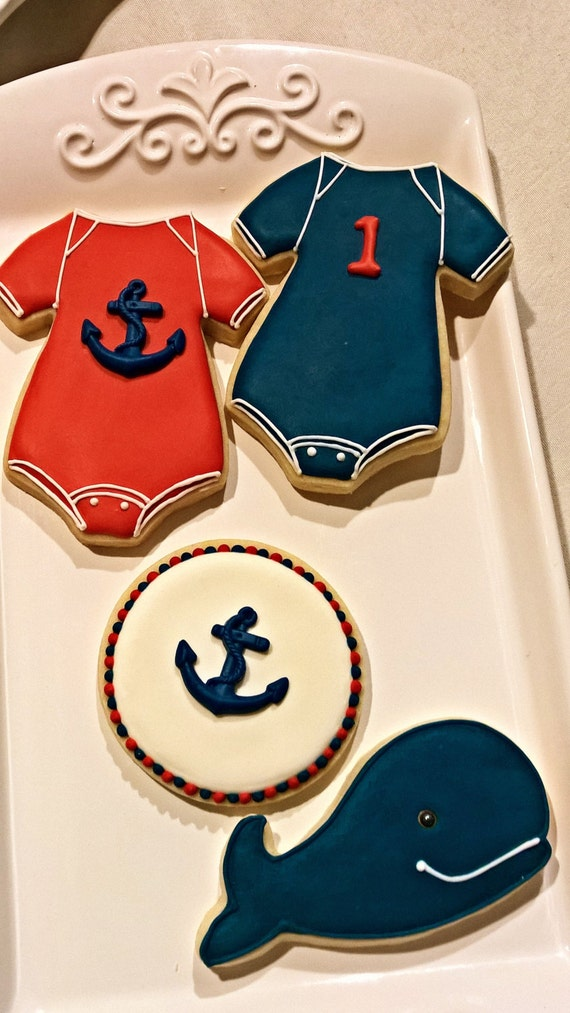 Nautical Themed Baby Onesie Cookie with Anchor Favors- 12 Pieces, Baby Shower, Birthday