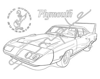 1970 PLYMOUTH ROADRUNNER SUPERBIRD, Adult Coloring Page, Printable Coloring Page, Coloring Page for Adults, Digital Instant Download 1 page
