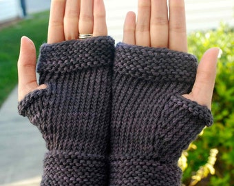 Gray Wool Fingerless Gloves - Grey Fingerless Gloves - Merino Wool Fingerless Gloves - Grey Wool Wristwarmers - Merino Wool Wristwarmers