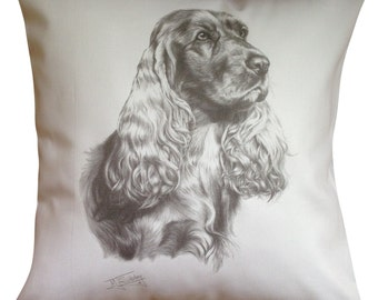 Cocker Spaniel MS Cotton Cushion Cover - Cream or White Cover - Gift Item