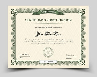 Certificate Template  | Multipurpose Certificate,  Photoshop & Elements Template | Instant Download