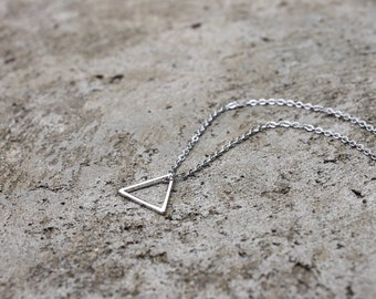 Little Silver Triangle Necklace // Minimal Necklace // Layering Necklace // Tribal Necklace // Geometric Necklace