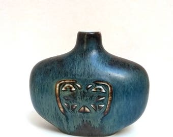 Gunnar Nylund, vase for Rörstrand in blue hare's fur glaze with an unintentional abstract central motif.